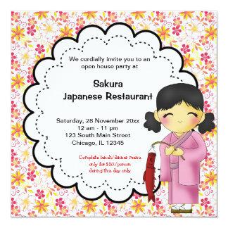"Japanese Grand Opening Restaurant 5.25"" Square Invitation Card"