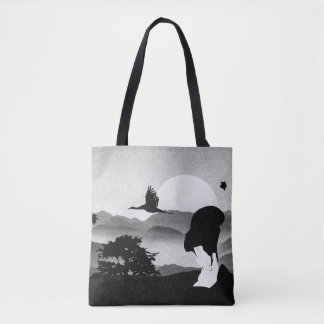 Japanese Graphic Pen Geisha Tree Rising Sun Tote Bag