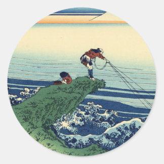 Japanese Hokusai Fuji View Landscape Classic Round Sticker