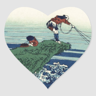 Japanese Hokusai Fuji View Landscape Heart Sticker