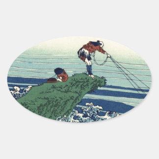 Japanese Hokusai Fuji View Landscape Oval Sticker
