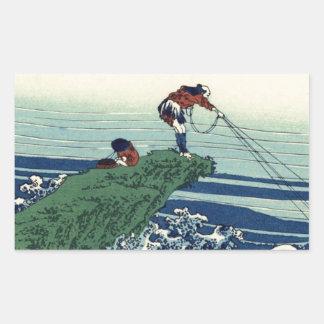 Japanese Hokusai Fuji View Landscape Rectangular Sticker