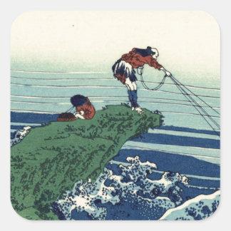 Japanese Hokusai Fuji View Landscape Square Sticker