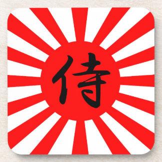 Japanese Imperial Flag with Samurai Kanji Symbol Drink Coasters