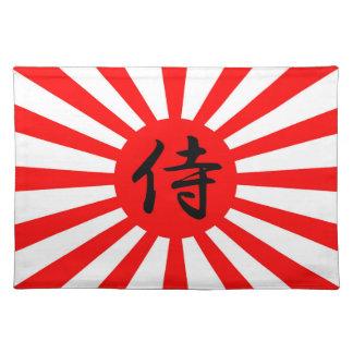 Japanese Imperial Flag with Samurai Kanji Symbol Placemat