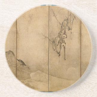 Japanese Ink on paper Gibbons Primates & Landscape Drink Coasters