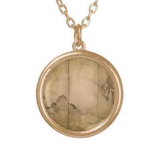 Japanese Ink on paper Gibbons Primates & Landscape Gold Plated Necklace