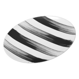 Japanese ink stroke design, black and white party plates