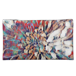 Japanese Inspired Flower Sketch Abstract Makeup Bag