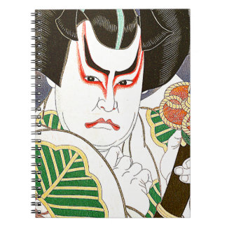 Japanese Kabuki Actor Art by Natori Shunsen 名取春仙 Spiral Notebook
