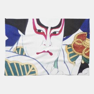 Japanese Kabuki Actor Art by Natori Shunsen 名取春仙 Tea Towel