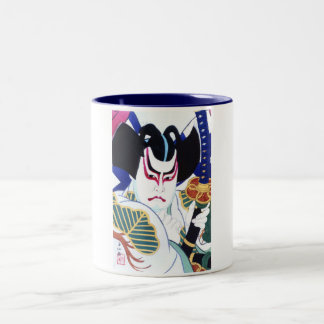 Japanese Kabuki Actor Art by Natori Shunsen 名取春仙 Two-Tone Coffee Mug