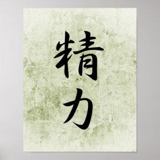 Japanese Kanji for Energy - Seiryoku Poster