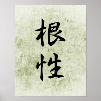 Japanese Kanji for Guts - Konjou Poster