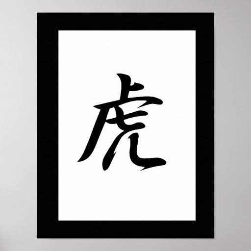 Japanese Kanji for Tiger - Tora Poster