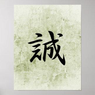 Japanese Kanji for Truth - Makato Poster