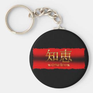 "Japanese KANJI for ""Wisdom"" Basic Round Button Key Ring"