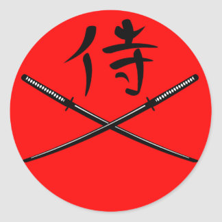 Japanese Katana and Samurai Kanji Classic Round Sticker
