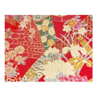 Japanese KIMONO Textile, Floral Pattern Postcard