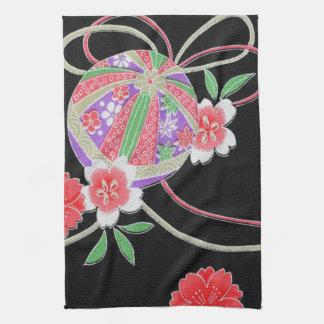 Japanese KIMONO Textile, Floret Pattern Tea Towel