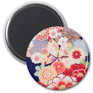 Japanese KIMONO Textile, Flower Magnet