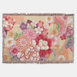 Japanese KIMONO Textile, Flower Throw Blanket