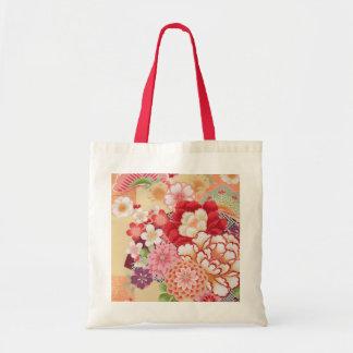 Japanese KIMONO Textile, Flower Tote Bag