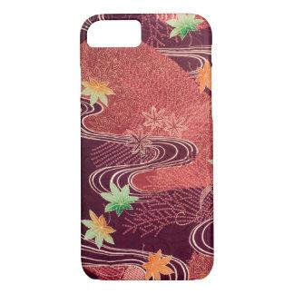 Japanese KIMONO Textile, Maple Leaf & Stream iPhone 7 Case