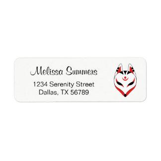 Japanese Kitsune Fox Mask Return Address Label