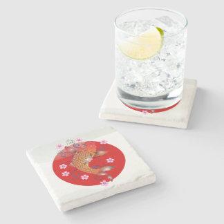Japanese koi carp stone beverage coaster