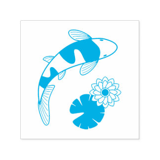 Japanese Koi Fish and Water Lily Self-inking Stamp