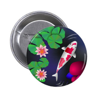 Japanese Koi Fish, Lotus Flowers & Water-lilies 6 Cm Round Badge