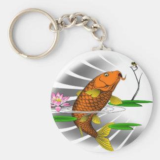 Japanese Koi Fish Pond Design Key Ring
