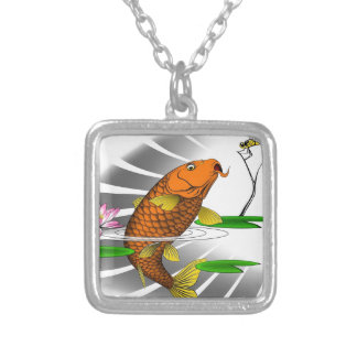 Japanese Koi Fish Pond Design Silver Plated Necklace