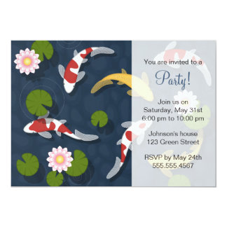 Japanese Koi Fish Pond Party Card