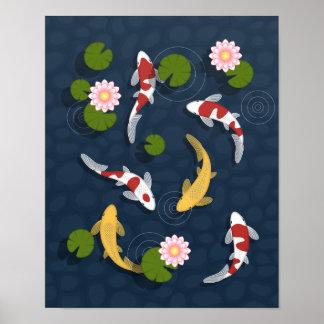 Japanese Koi Fish Pond Print