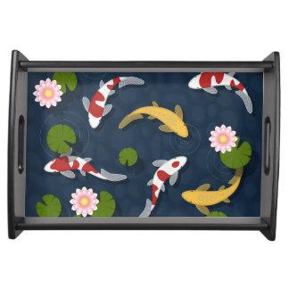 Japanese Koi Fish Pond Serving Tray