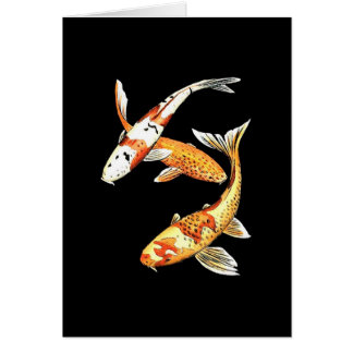 Japanese Koi Goldfish on Black Card