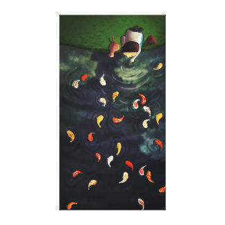 Japanese Koi Pond Art Extra Large Stretched Canvas Print