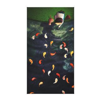 Japanese Koi Pond Art Large Canvas Print