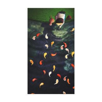 Japanese Koi Pond Art Medium Gallery Wrapped Canvas