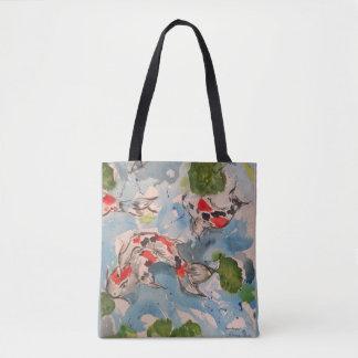 Japanese Koi Watercolor Art All Over Print Tote