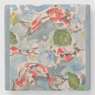 Japanese Koi Watercolor Art Stone Coaster