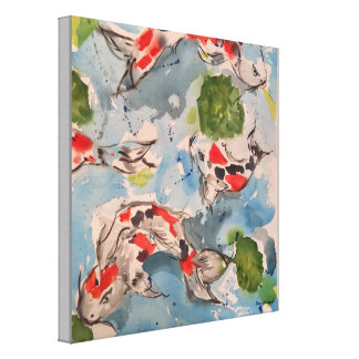 Japanese Koi Watercolor Canvas Print 12x12