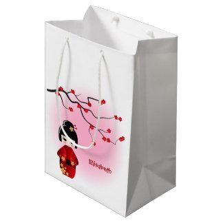 Japanese kokeshi doll at sakura blossoms girls medium gift bag
