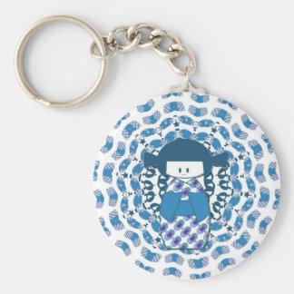 Japanese Kokeshi doll, blue Keychain