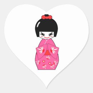 Japanese Kokeshi Doll Heart Sticker