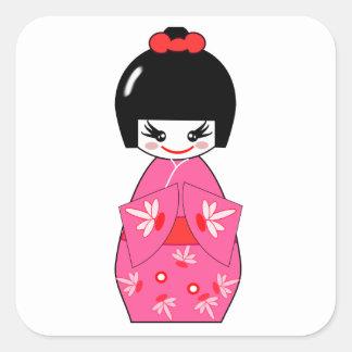 Japanese Kokeshi Doll Square Sticker