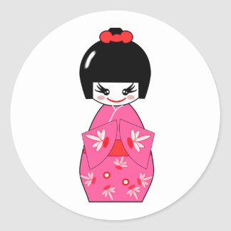 Japanese Kokeshi Doll Round Stickers
