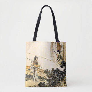 Japanese lady at moon window vintage print tote bag